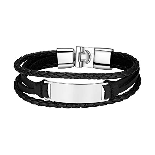 Custom4U Cadenas Negras con Placas Plateado Aleación Zinc Pulsera Moderna para Familia Amigo Novios Joyería Fantástica de Regalo
