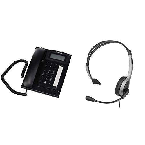 Panasonic KX-TS880 Teléfono Fijo con Cable (LCD, Entrada Jack, marcación Directa, Altavoz, identificador de Llamadas, Reloj) + RP-TCA430E-S Auriculares de Diadema Abiertos para para teléfonos
