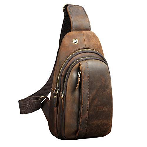 Le'aokuu Herren Echtes Leder Hüfttasche Brusttasche Bauchtsche Crossbody Bag Sling Bag Schultertsche Brustbeutel Für Motorrad Joggen (010 Dunke braun)