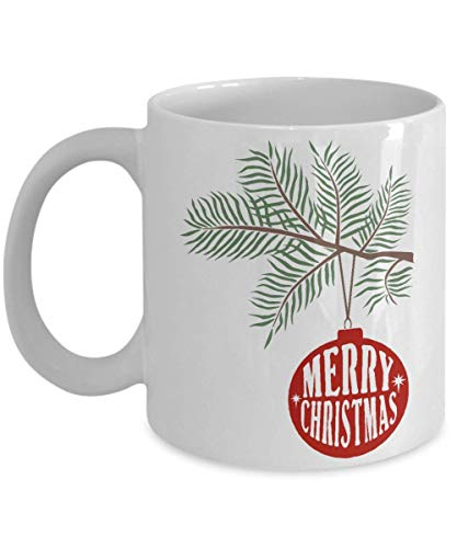 Merry Christmas with Pine Branch and Ornament Coffee Mug - Perfect for Watching Hallmark Movies