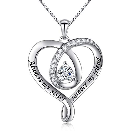 """925 Sterling Silver Jewelry Engraved""""Always My Sister Forever My Friend"""" Love Heart Best Friend Sister Pendant Necklace"""
