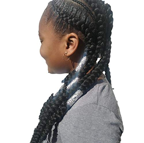Masai LJ Products Masai Light Weight 3 Piece Silver Jata Dreadlock Bead Loc Jewelry Indian Hair Jewelry Cuff Braid Sleeve Dress Your Tress