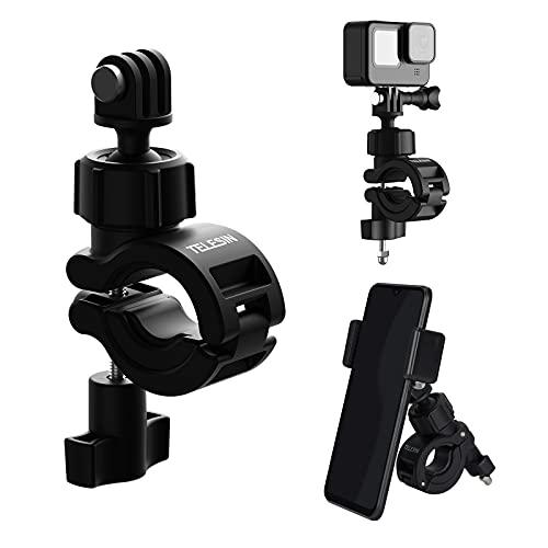 TELESIN supporto per moto da bicicletta per Gopro 10,supporto Manubrio di rotazione a 360 compatibile con tutti i modelli GoPro/Insat360/fotocamere action action e qualsiasi altro telefono cellulare