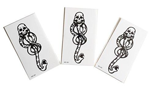 STRASS & PAILLETTES - Lot de 3 Mini Tatouages éphémère Harry Potter Mangemort - Tatoo temporaire Halloween - Bijou de Peau