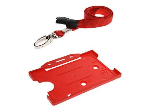 ID Card It Id Kaarthouder met Lanyard Halsband en Metalen Clip - Rood (Pak van 5)