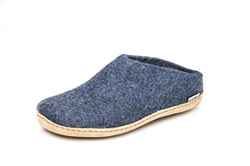 glerups dk B Slipper unisex - volwassene vilt slipper, dames, heren hoekschoenen, vilten pantoffels, pannen, puchen blauw, 41 EU / 7,5 UK