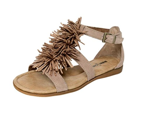 Minnetonka Womens Presley Sandal, Taupe Suede, Size 6