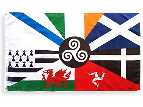 3x5 Foot Celtic Nations Flag with Two Brass Grommets, 100% Polyester Fabric, and Double Stitched Edges, Pan-Celtic Flag, Inter-Celtic Flag of Celtic Nations, Panceltic Flag, Interceltic Flag