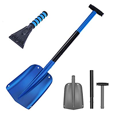 """NASUM Snow Shovel for Car Collapsible 3 in 1 Snow Shovel Kit Up to 33"""" Aluminum Sport Utility Shovel for Garden, Car, Camping with Extra Ice Scraper"""