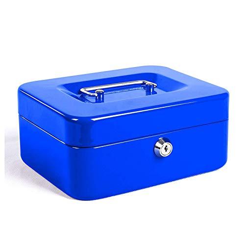 Caja Fuerte Electrónica, Caja Fuerte para el hogar, incombustible Digital, Caja de Efectivo de automóviles portátil con Doble Capa y 2 Claves de Seguridad,Azul