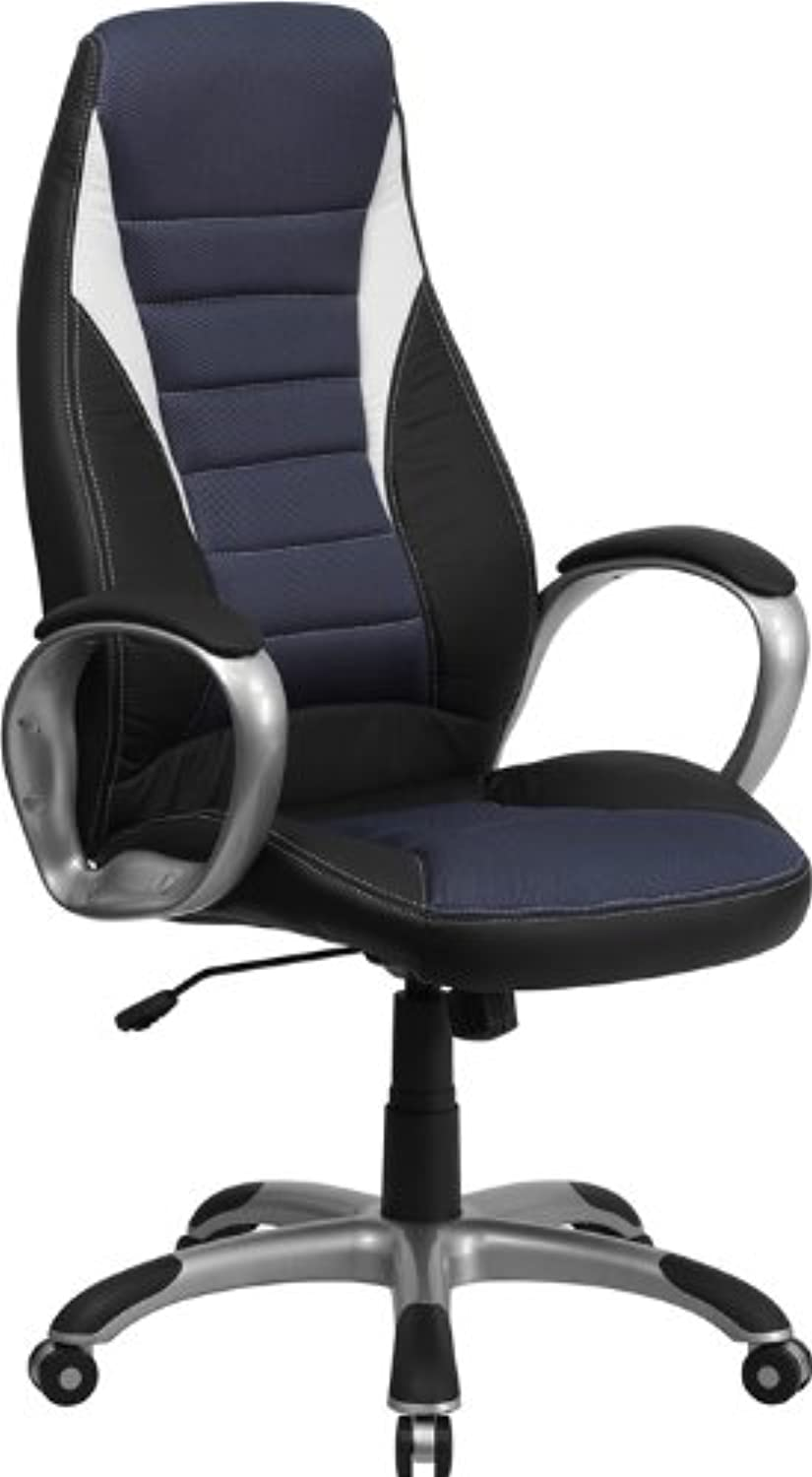 Flash Furniture High Back Black Vinyl Executive Swivel Chair with bluee Mesh Inserts and Arms