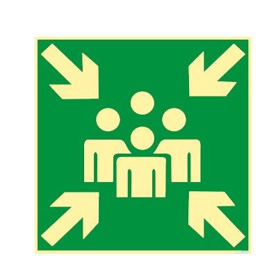 Rettungszeichen - Rettungsschild - Sammelstelle - Sammelplatz - Sammelpunkt Alu nachleuchtend 400 x 400 mm