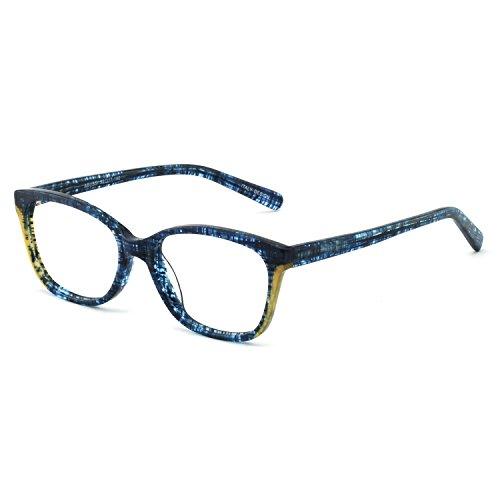 Occi Chiari Modischer Brillenrahmen aus Kunststoff mit Federscharnieren für Damen Gr. S, B-blau/gelb (blauer Lichtblock)