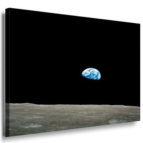 Mond Aussicht auf Erde Leinwandbild / LaraArt Bilder / Mehrfarbig + Kunstdruck XXL w24-7 Wandbild 150 x 100 cm