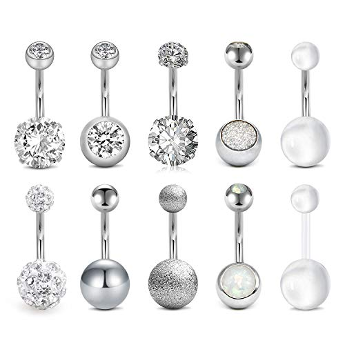 D.Bella 14G Belly Button Rings Surgical Stainless Steel Navel Belly Rings for Women Girls 10mm Belly Bar Piercing Jewelry 10pcs