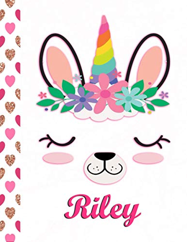 Riley: Personalized Unicorn and Llama Sketchbook For Girls With Pink Name - 8.5x 11 110 Pages- doodle, sketch the perfect gift for birthday, Thanksgiving, or Christmas