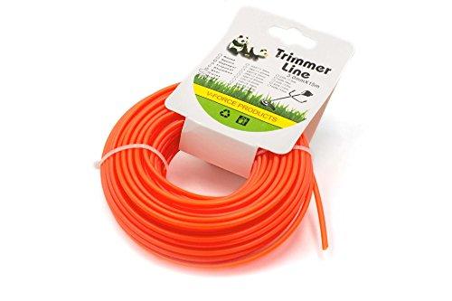 vhbw Mähfaden Trimmerfaden mit 3mm Durchmesser für Rasentrimmer Motorsense - 15 Meter, Orange, Nylon, widerstandsfähig - Rasentrimmerfaden Ersatzfaden