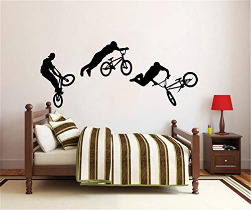 adesivo murale albero d 'estate Exciting Jump Bike Ciclista BMX Freestyle Jumping Sport estremo Muro Kids Bedroom Decor Nursery