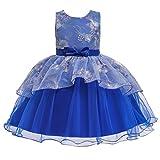 Vestido y falda para niña, diseño floral, para dama de honor, vestido de fiesta de cumpleaños, vestido de boda, vestido de flores para bodas (azul de 18 a 24 meses)