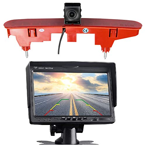 Tercera cámara de marcha atrás HD 720p, luz de freno, cámara de freno, cámara de marcha atrás, juego de cámara y pantalla de 7 pulgadas para Peugeot Partner Citroen Berlingo Partner II 08-16