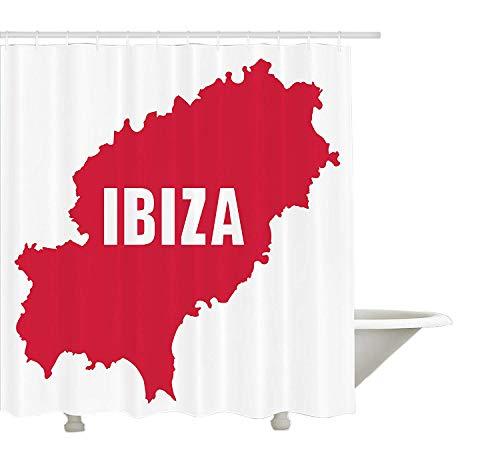 Yeuss Ibiza douchegordijn, silhouet van de Balearen kaart Mediterrane Geografie Spaans landschap, stof badkamer decoratieset met haken, Dark Coral en wit