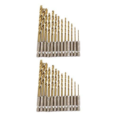 Amuzocity 26 Pieces HSS Drill Set 1.5 Mm 6.5 Mm BITS Titanium Coated with 1/4 ''