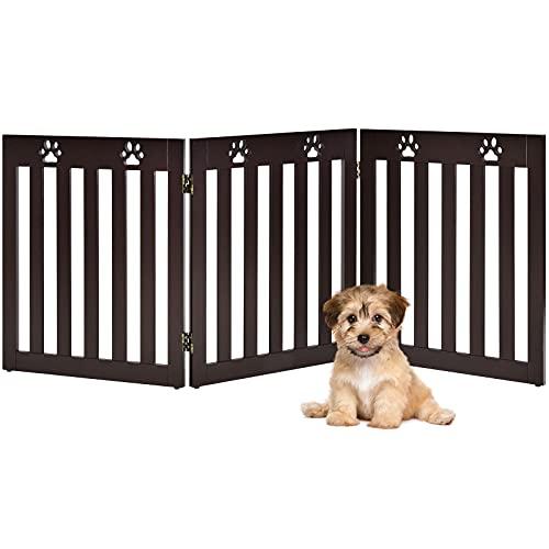 RELAX4LIFE Schutzgitter faltbar, Absperrgitter 3/4 Teile, Hundegitter Hundespur-Design, für Kinder Hunde Tiere, Sicherheitsgitter 360° drehbar, Gitter für Treppe Balkon Kamin Tür (3 Teilig, Braun)