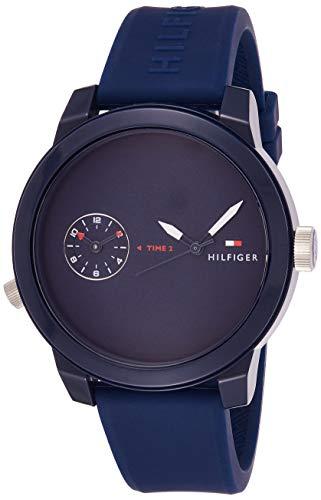 Tommy Hilfiger Herren Datum klassisch Quarz Uhr mit Silikon Armband 1791325