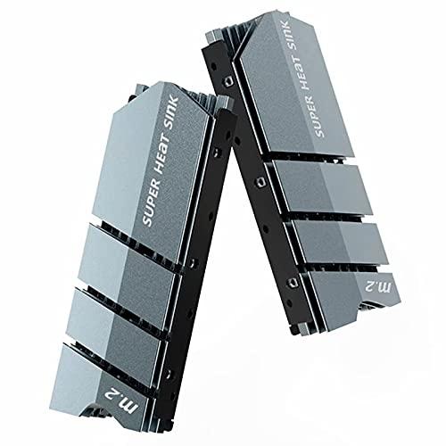 AMPCOM M.2 disipador de calor, NVMe M.2 2280 SSD disipador de calor de aluminio de alto rendimiento con almohadillas térmicas (no incluidas SSD) - gris
