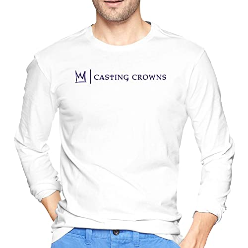 COOTHING Casting Crownst Shirt Men s Long Sleeve Round Neck Comfortable Cotton Shirts White
