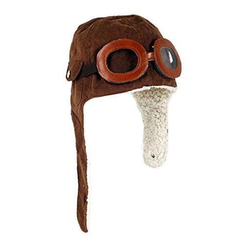 Wowlife Cool Pilot Aviator Fleece Hat Cap with Earmuffs Baby Toddler Protect (Brown)