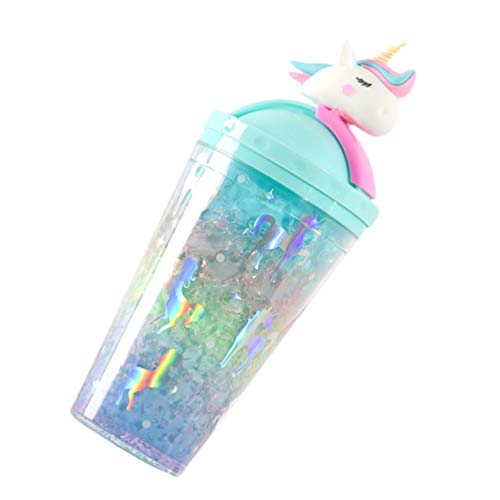 VALICLUD 450Ml Einhorn Stroh Tasse Doppelschicht Eis Tasse Mädchen Trinkbecher Cartoon Vakuum Tasse Kostenlose Wasser Trinkbecher für Saft Kaffee Frauen Mädchen Paar Liebhaber