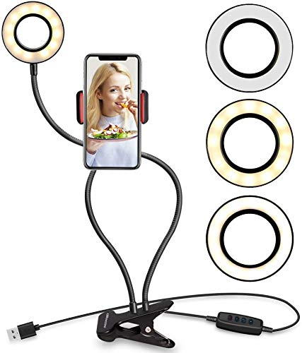 RUXMY Soporte para teléfono Celular Soporte de luz para Selfie Transmisión en Vivo y Maquillaje Luz LED Regulable 3 Modos de Brillo de 10 Niveles con 360 Grados;Lámpara de Escritorio de dormitori