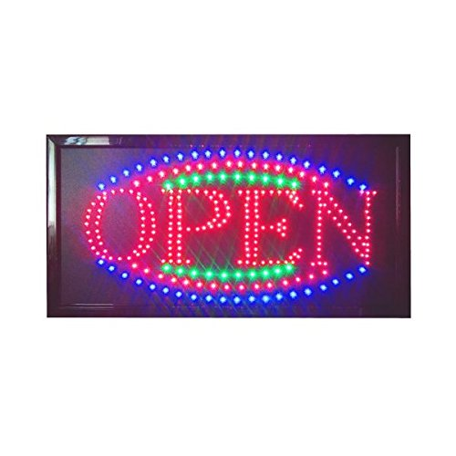 Construction -FeetConstructor-Feet Color Large 12 x 23 Inches Animated Motion LED Open Sign Neon Light 3 Chain and Way Switch (LED-OPS-LG)