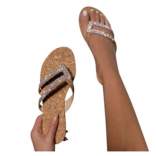 Aniywn Sandals for Women, Casual Women's Flat Slippers Crystal Glitter Comfy Platform Sandal Shoes Summer Roman Shoes