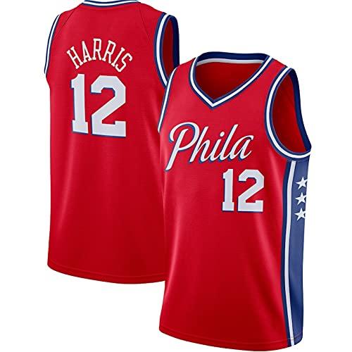 PTELEA Hombres Baloncesto 76er Transpirable Ropa Deportiva Transpirable Transpiración Cómodo Harris Jersey #12 Rojo