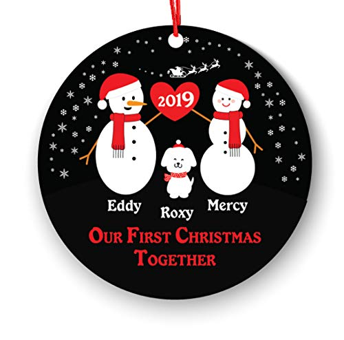 Our First Christmas Together Christmas Ornament Personalized with Dog Pet - New Couple Lover 2018-1st 2nd Christmas Ornament First Married - Newlywed 2018