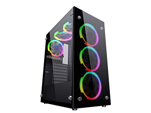 Raidmax i4 Series ATX Desktop Gaming Computer Case USB 3.0 Tempered Glass Window with 120mm ARGB LED Fans (i408)