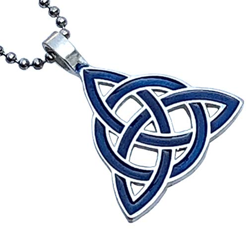 Celt Celtic Jewelry Blue Triquetra Trinity Knot Norse Viking Pagan Magic Wicca Wiccan Witch Protection Amulet Pewter Men's Women's Pendant Necklace Charm for men women w Silver Ball chain