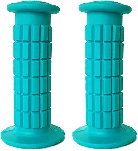 BMX - Puños para manillar de bicicleta para niños - Juego de dos piezas / PVC/para Junior /antideslizante/resistente a la intemperie / ciclismo /fácil instalación en manillar/niños niñas (azul)