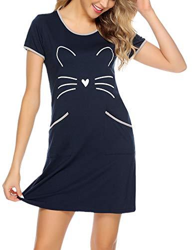 Sykooria Nachthemd Damen Kurzarm Baumwolle Sommer Nachtwäsche Nachtkleid Katzen Druck Rundhalsausschnitt Sleepshirt mit 2 Taschen, Weiches und Bequemes Material