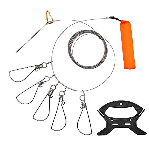 Hunter's Tail Large Heavy Duty Stainless Steel Wade Fishing Lock Stringer Cable with 5 Snap Clips - 16 Feet