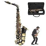 Tubo para doblar botones sin oxidación, saxo alto sin desvanecimiento, para principiantes, enseñanza y actuaciones en el escenario, para amantes del saxo(black)