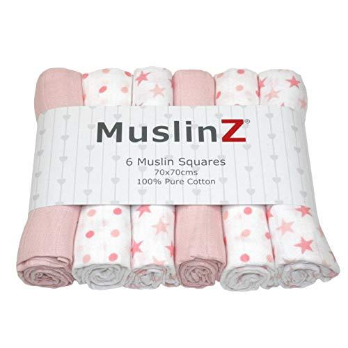 MuslinZ - Juego 6 paños muselina bebé 100% algodón