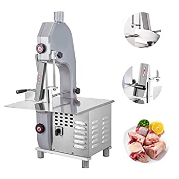 INTBUYING Commercial Bone Cutting Machine Commercial Bone Saw Machine with Adjustable 4-200mm Thickness Blade and Cleaning Pipe for Frozen Meat Cutter Bone Saw Butcher 110V 1500W