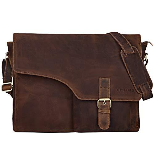 STILORD 'Valerian' Leder Umhängetasche Herren Messenger Bag Business Uni Büro groß DIN A4 Laptoptasche Aktentasche Vintage Rindsleder, Farbe:mittel - braun