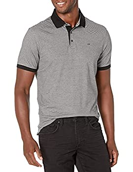 Calvin Klein Men s Liquid Touch Stripe Polo Black/Cellar Large