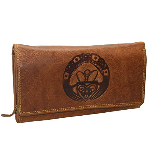 Große Damen Geldbörse Claddagh Prägung irisches Glückszeichen mit RFID NFC Schutz Portemonnaie (Hellbraun)
