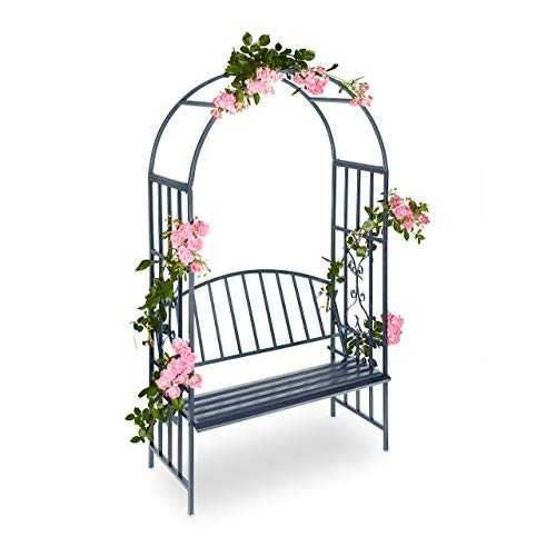 Relaxdays Arbour with Bench, Robust Metal, 2-Seater Decorative Garden Chair, Trellis, HxWxD: 205 x 115 x 50 cm, Black