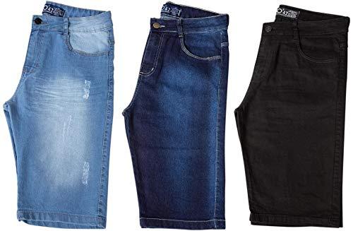 Kit com 3 Bermudas Masculinas Sarja Jeans Short Slim Lycra Brim - Preta, Jeans Claro e Jeans Escuro - 40